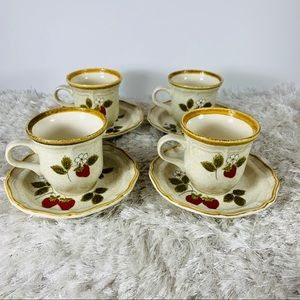 Mikasa Strawberry Fields Set of 4 Cups Saucers